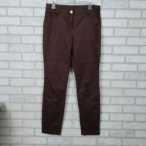 W By Worth Pants Brown Straight Leg Sz 6 Waxed